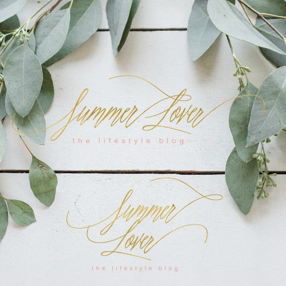 premade logo - watercolor logo - calligraphy logo - logo - painted logo - gold foil logo -  freshmint paperie
