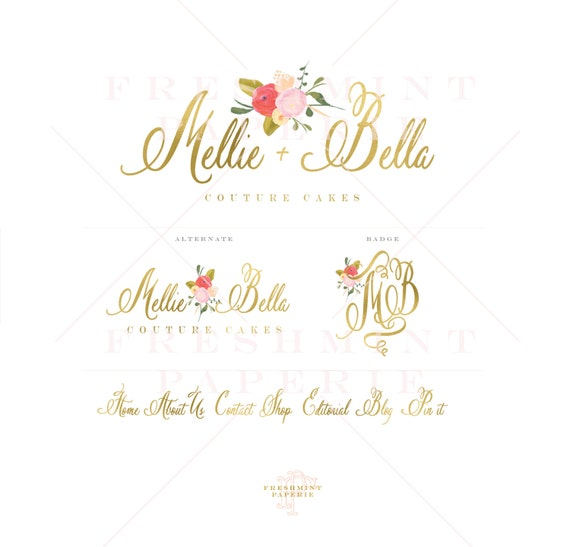 floral logo - watercolor logo - baking logo - calligraphy logo - watercolor logo - handwritten logo - freshmint paperie