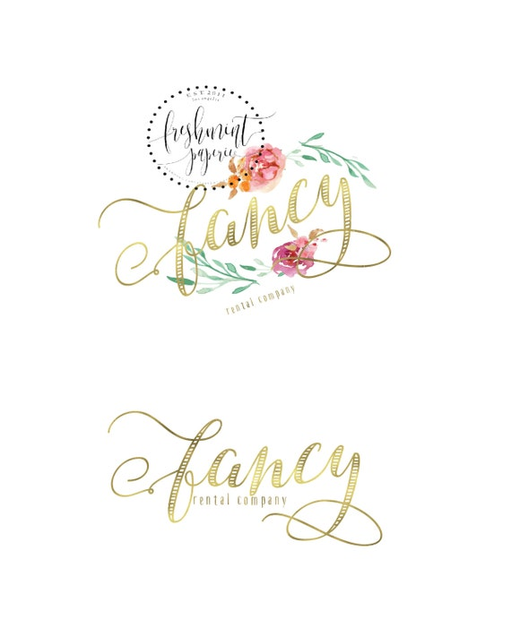 Custom pre-made logo - logo design - handwritten logo - logo - floral logo - gold logo - watercolor logo - freshmint paperie