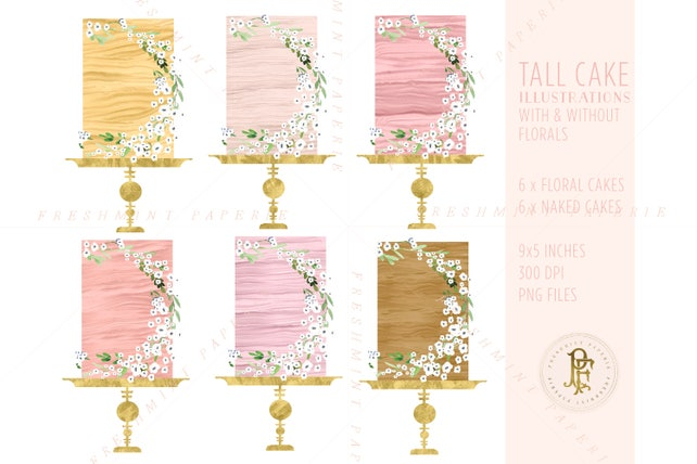 watercolor cake clipart - cake clipart - floral cake clipart - naked cake clipart - bakery clipart - freshmint paperie