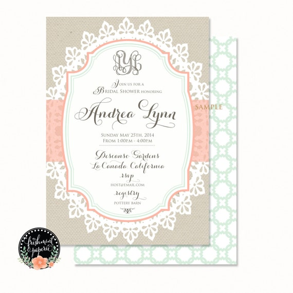 Printable invitations - burlap &  lace invitation - lace invitation - calligraphy - bridal shower invitation - freshmint paperie