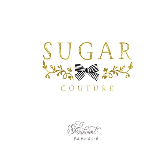 customized logo design - ribbon logo  - gold logo - business logo - business card - freshmint paperie