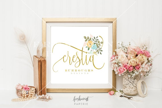 premade logo design - calligraphy logo - floral logo - business logo - business card - pretty logo - freshmint paperie