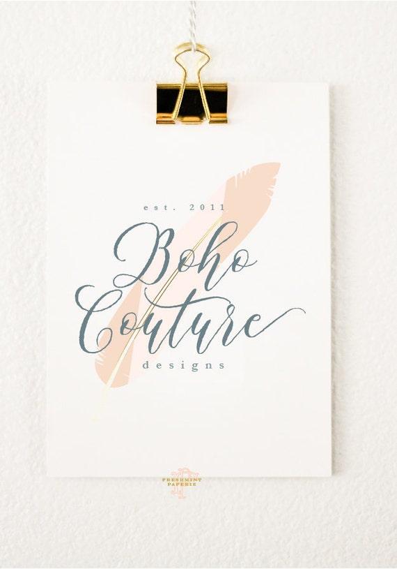 premade logo - watercolor logo - calligraphy logo - logo - bohemian logo - feather logo -  freshmint paperie