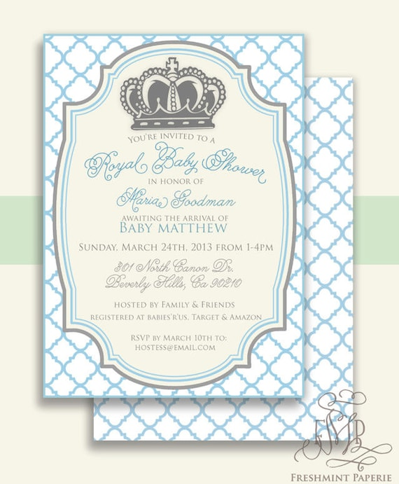 Royal baby shower invitation - baby shower invitation - prince invitation - crown invitation - Freshmint Paperie