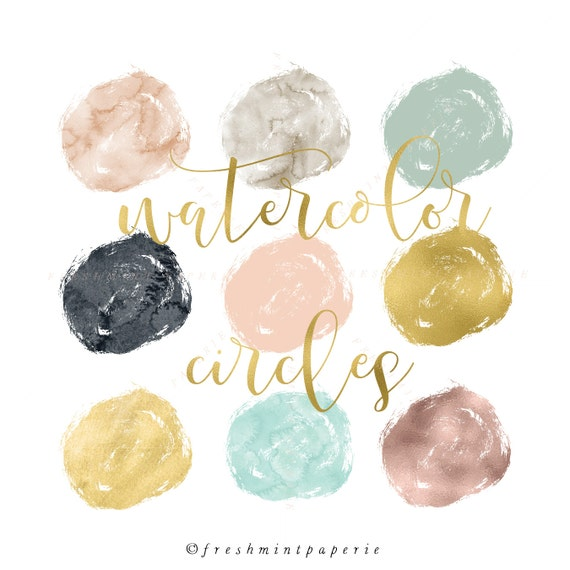 watercolor circles clipart - gold brush clipart - paint clipart - ink strokes clipart - watercolor clipart - freshmint paperie