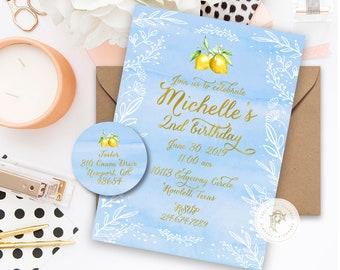 Lemon invitation - Lemonade invitation - ONE invitation - calligraphy invitation - kids birthday invitation - freshmint paperie