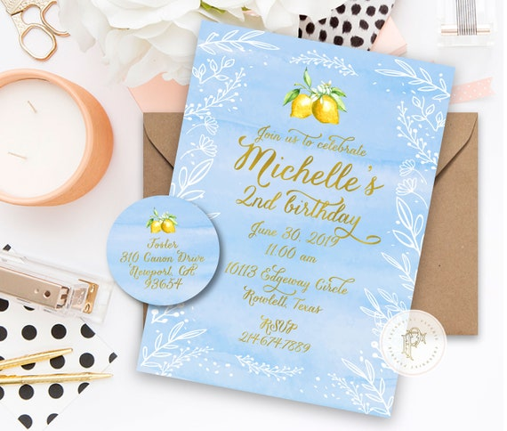 Lemon invitation - Lemonade invitation - ONE invitation - calligraphy invitation - kids birthday invitation - freshmint paperie