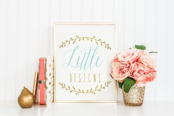 pre-made Custom logo -  laurel logo  - calligraphy logo - lace logo - business card - freshmint paperie