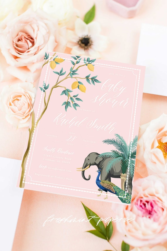 Jungle invitation, Safari Baby Shower invitation, Tropical Invitation, Elephant invitation, Jungle Baby Shower, Peacock Invitation, Tropical