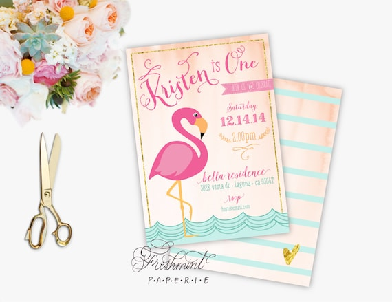 FLAMINGO invitation - flamingo Birthday invitation - tropical invitation - Pink Flamingo invitation - Flamingo invite - Flamingo party