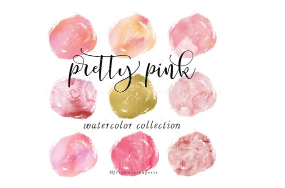 pink watercolor circles clipart - gold brush clipart - paint clipart - ink strokes clipart - watercolor clipart - freshmint paperie