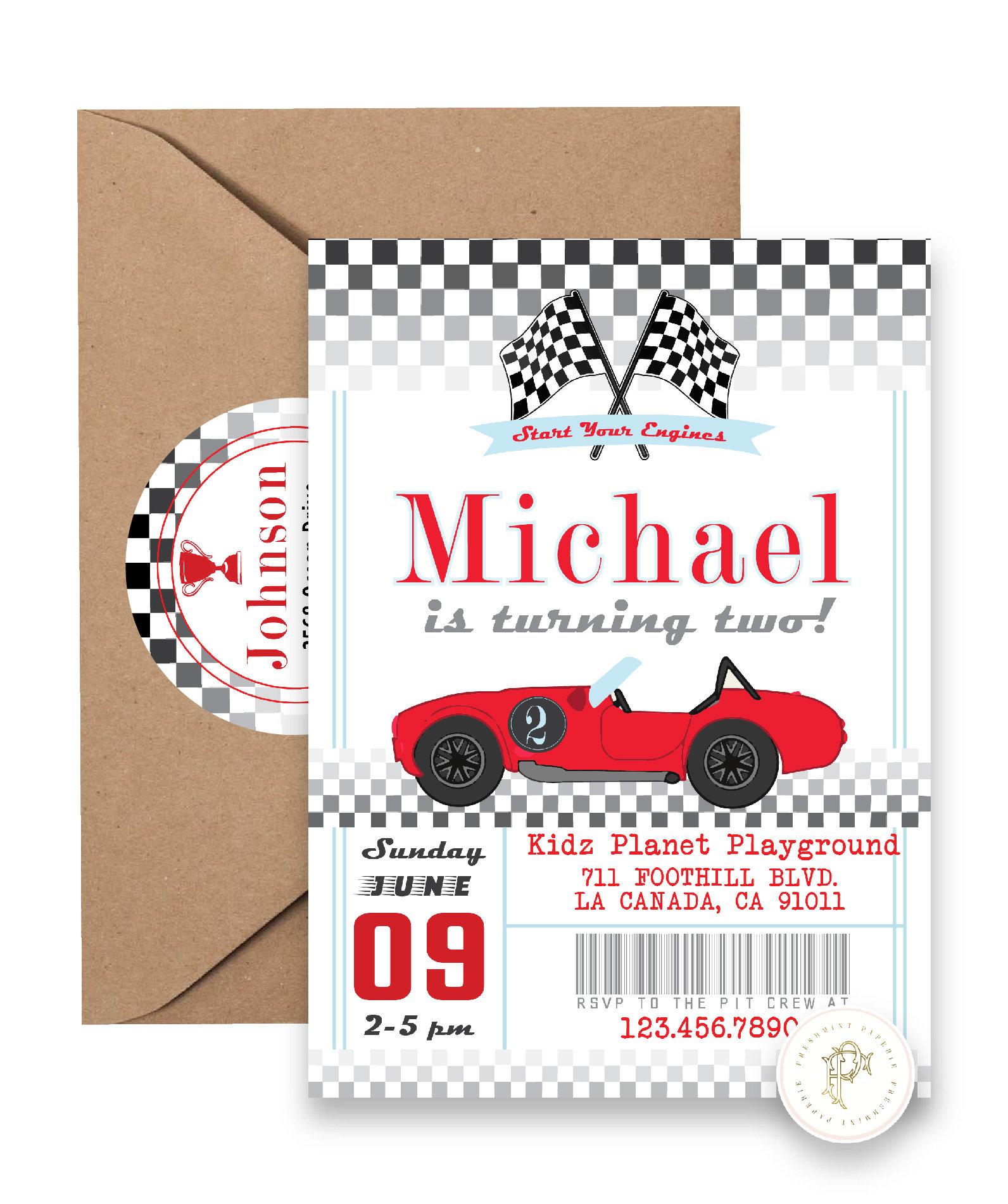 Car invitation - Race Car Invitation - Cars Invitation - Retro Car ...