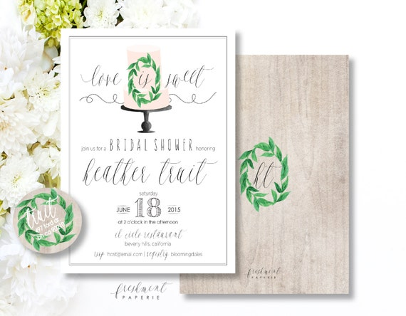 Printable invitations - bridal shower invitation - wood texture invitation - love is sweet invitation - freshmint paperie