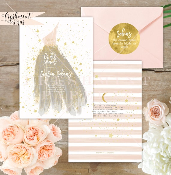 Bridesmaid invitation - bridal shower invitation - gown invitation - bridal shower luncheon invitation - bride invitation - gala invitation
