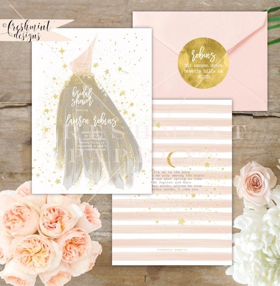 Bridesmaid invitation - bridal shower invitation - gown invitation - bridal shower luncheon invitation - bride invitation - gala invitation