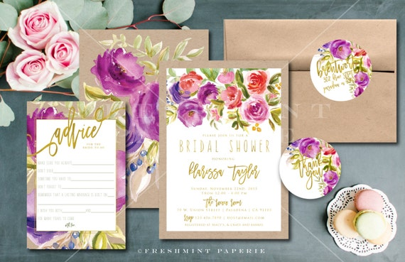 Printable invitations - kraft and watercolor floral invitation - bridal shower invitation - modern caligraphy invitation - freshmint paperie
