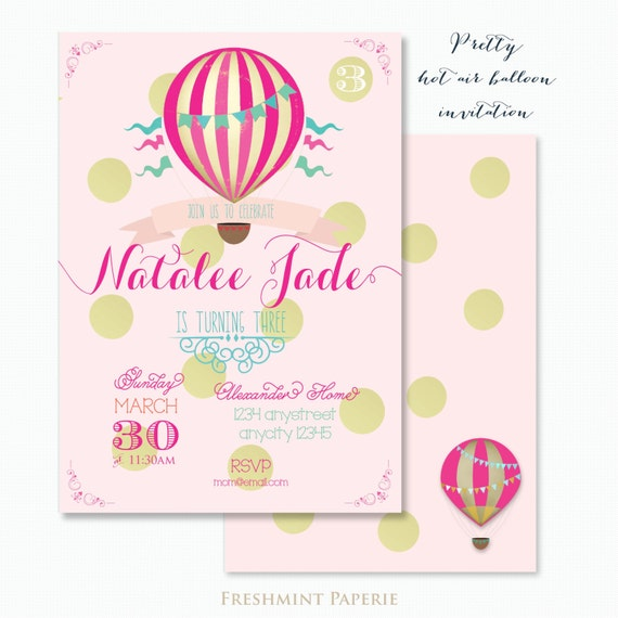 Printable invitations - HOT AIR BALLOON invitation - balloon invitation - calligraphy - hot air balloon theme  - freshmint paperie