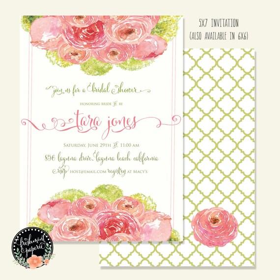 bridal shower Invitation - floral invitation - bouquet invitation - printable invitation - calligraphy invitation - bouquet invitation