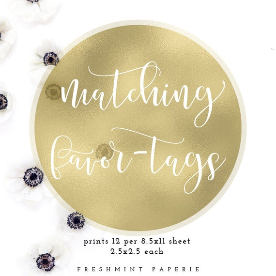 matching favor tags -  printable favor tag - wedding stationary - freshmint paperie