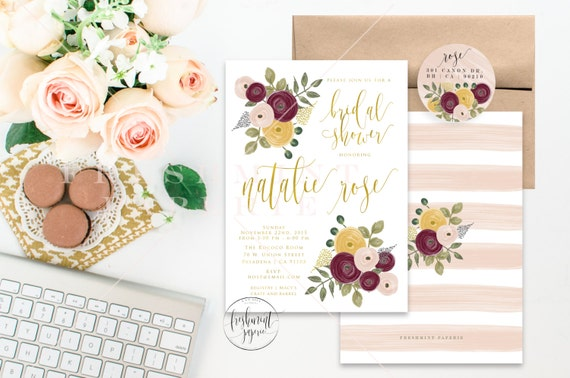 Printable invitations - floral  invitation - flower theme - gold foil calligraphy - floral invitation - dark flowers - freshmint paperie