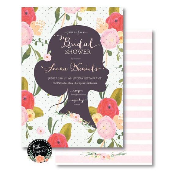 Printable invitations - bridal shower invitation - floral invitation - calligraphy - face sillouette invitation - freshmint paperie