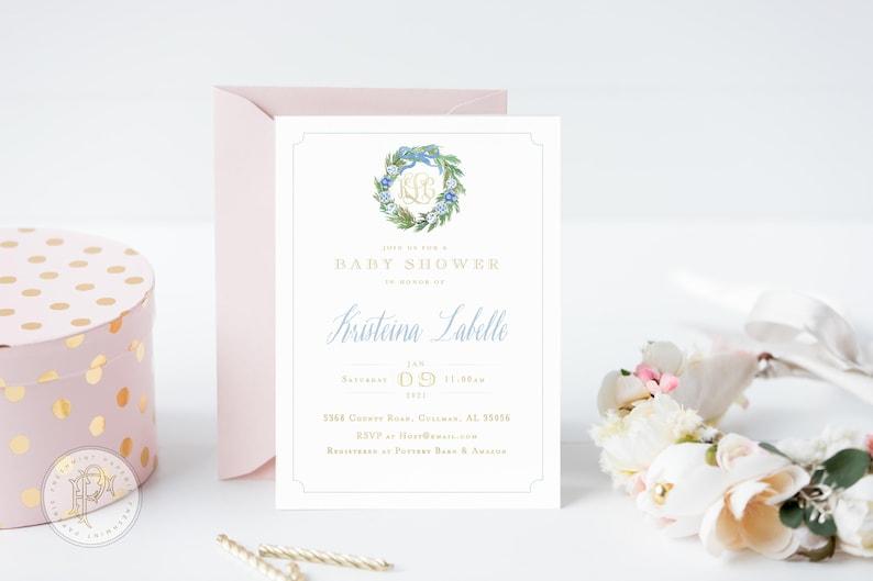 baby shower invitation Monogram Baby Shower Invitation Chinoiserie ornament invitation baby shower invitation