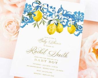 Lemon invitation - Lemons invitation - Baby Shower invitation - Tuscan invitation - Mediterranean invite - freshmint paperie