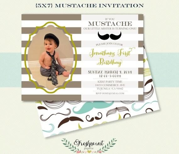 mustache Invitation - little mister invitation -  mustache theme - boys invitation - freshmint paperie