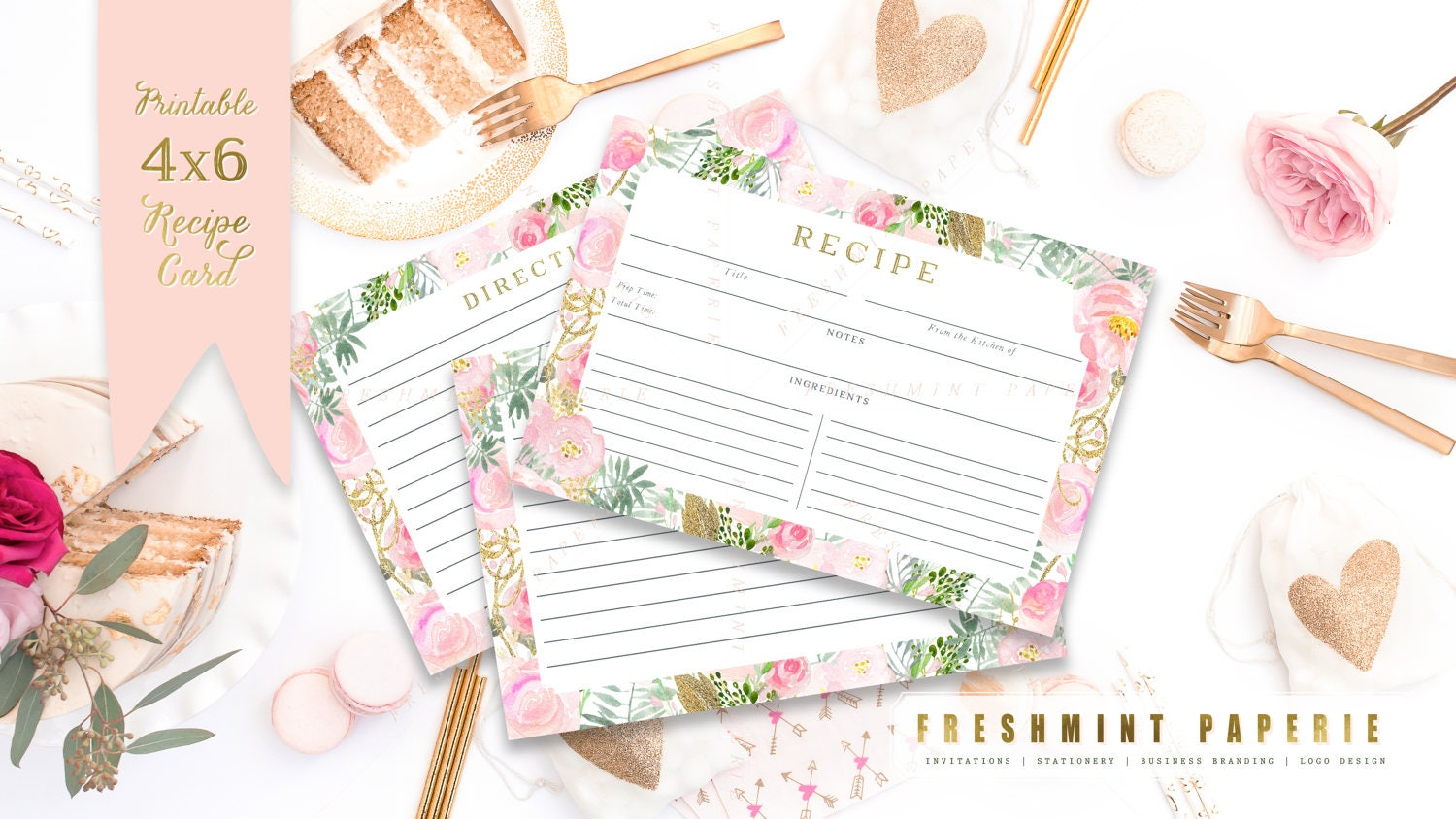 printable recipe cards floral recipe cards recipe card bridal shower freshmint paperie