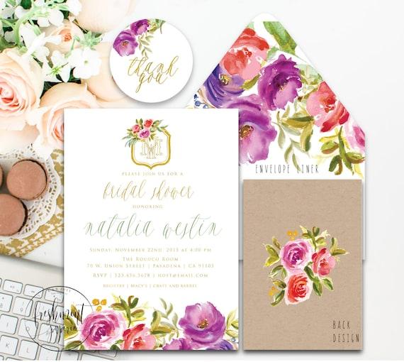 Monogram invitation - floral invitation- bridal shower invitation - autumn invitation- baby shower invitation - fall invitation - monogram