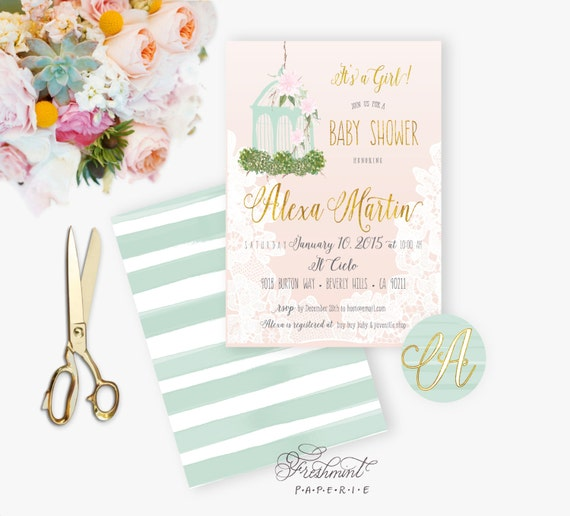watercolor baby shower Invitation - bridal shower invitation - birdcage invitation - mint invitation - freshmint paperie