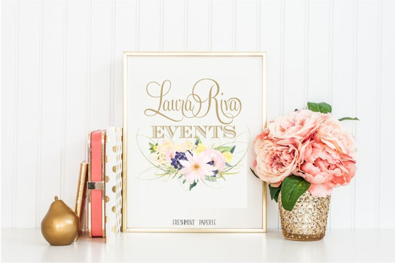 floral logo design - calligraphy logo - business logo - business card design - flower logo -  pretty logo - freshmint paperie