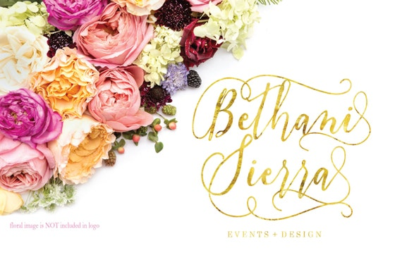 Custom pre-made logo -  logo design  - calligraphy logo - gold logo - floral logo - blush text - freshmint paperie