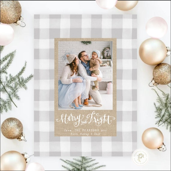 Printable Holiday Cards, Christmas card, Photo Christmas cards, Photo holiday cards, Pretty Holiday Cards, Gingham Holiday card