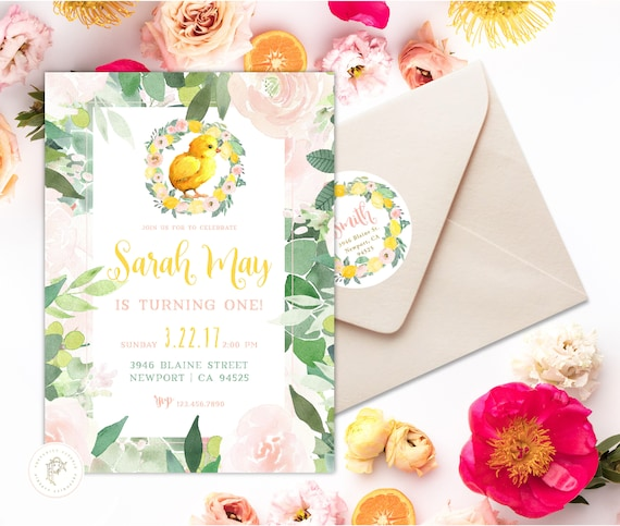 Chick invitation | Chick Birthday Invitation | Birthday invitation |  Succulent Invitation | Easter Invite | Baby Chick theme