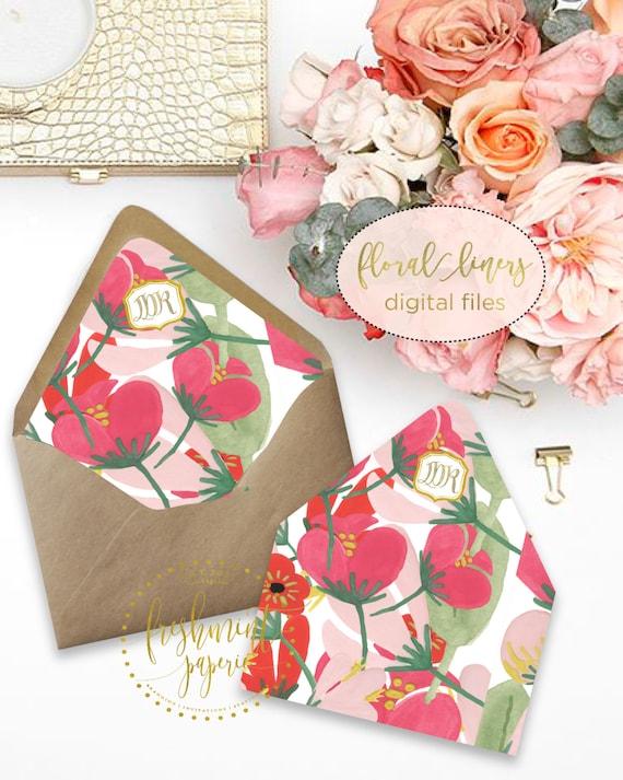 Printable envelope liners - monogram floral envelope liner - envelope  liner  - invitations - waterecolor liners - Freshmint Paperie
