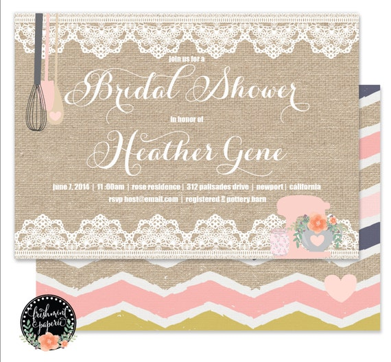 Kitchen Bridal Shower invitation - Bridal Shower Invitation - Burlap & Lace Invitation - Kitchen Invitation - Recipe Card - Bridal Shower