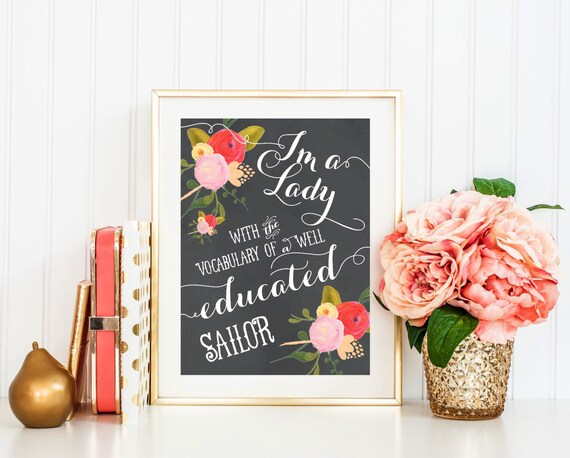 Printable wall art - chalkboard typography sign - vintage flowers - instant download - freshmint paperie