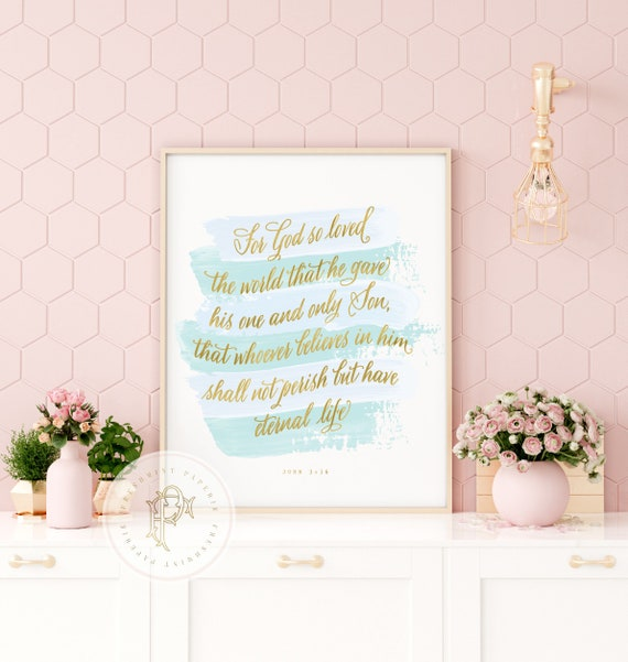 John 3:16,  bible verse, bible inspiration quotes, watercolor bible verse, JOHN 316 - by freshmint paperie