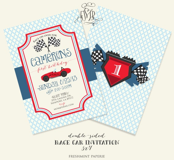 Car invitation - race car invitation - cars Invitation - calligraphy -boys birthday - freshmint paperie