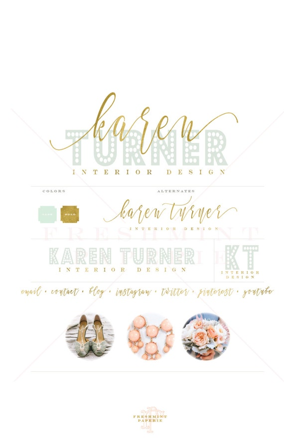 Custom premade logo - watercolor logo design - mint watercolor logo - calligraphy style logo - freshmint paperie