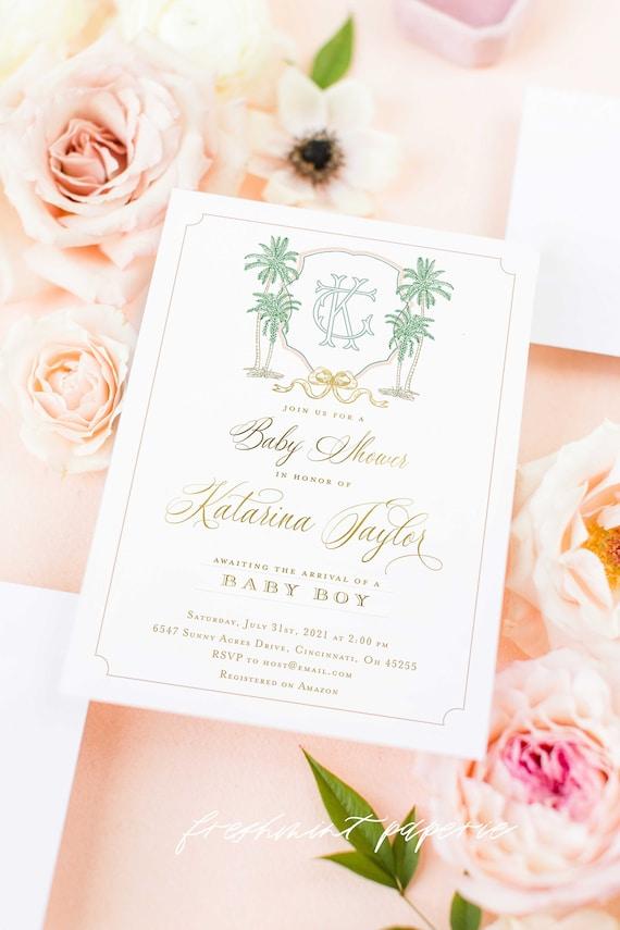 Tropical invitation | Palm Tree invitation | Baby Shower Invitation | Tropical Baby Shower | Watercolor | Palm trees