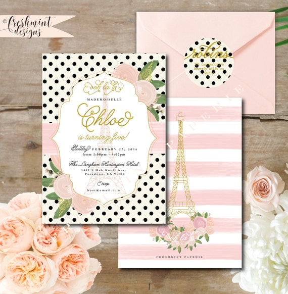 Paris invitations - french invitation - parisian birthday invitation - parisian invitation - floral paris - freshmint paperie