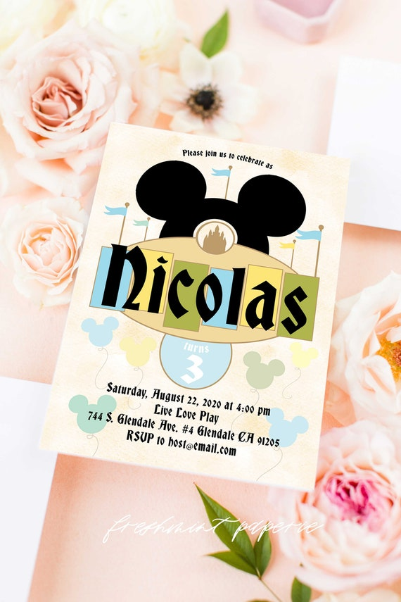 Vintage Mickey Mouse invitation - Mickey Mouse Birthday - Classic Mickey - Mickey invitation - Mickey Printable invitation - Classic