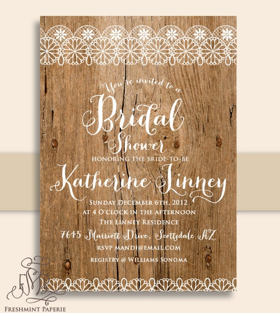 Wood invitations - rustic wood invitation - lace invitation - bridal shower invitation - Freshmint Paperie