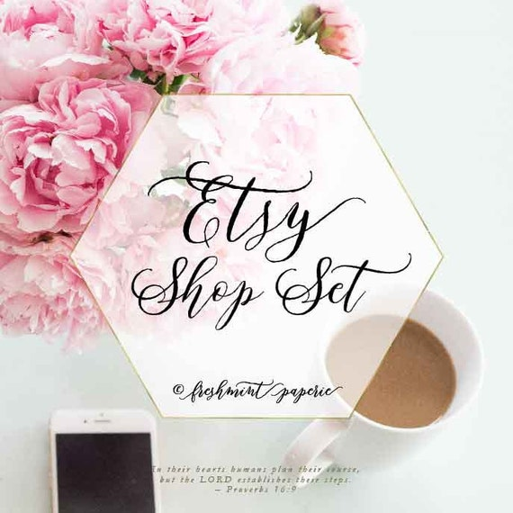add on etsy banner and avatar - etsy banner - facebook cover  - logos - branding - freshmint paperie