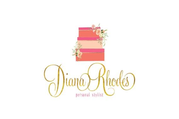 Custom pre-made logo -  logo design  - calligraphy logo - logo - floral logo - hot pink & coral logo -  freshmint paperie
