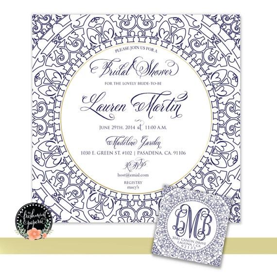 Printable invitations - bridal shower invitation - blue porcelain invitation - calligraphy - square invitation - freshmint paperie