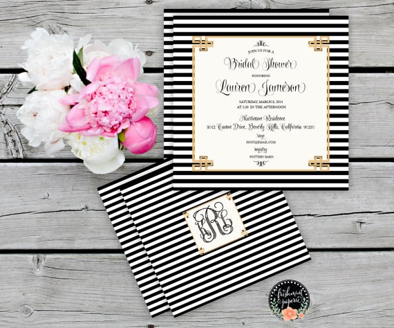 Printable invitations - bridal shower invitation - black & white stripes invitation - calligraphy - bridal invitation - freshmint paperie